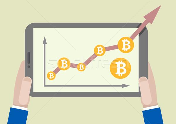 Tablet bitcoin groei illustratie Stockfoto © unkreatives