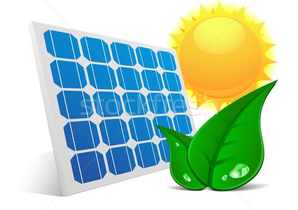 Solar Panel Sun Leafs Stock photo © unkreatives