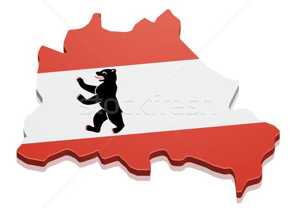 Сток-фото: карта · Берлин · подробный · иллюстрация · флаг · eps10