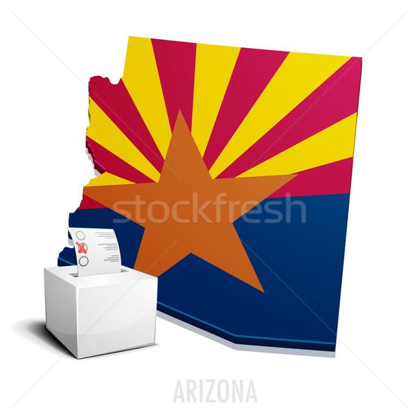 Kaart Arizona gedetailleerd illustratie eps10 vector Stockfoto © unkreatives