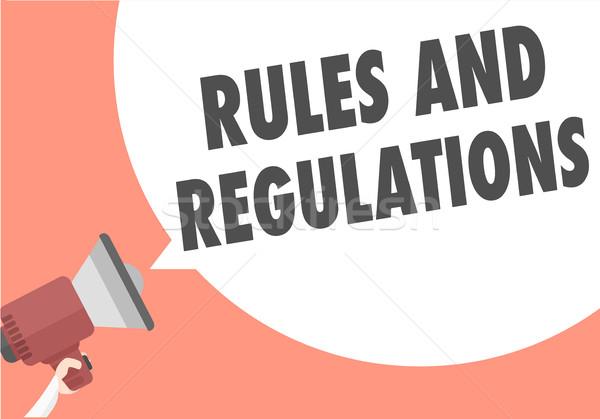 Megafone regras ilustração texto balão de fala Foto stock © unkreatives