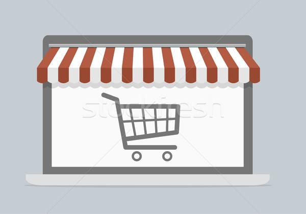 Laptop shopping illustrazione carrello mobile Foto d'archivio © unkreatives