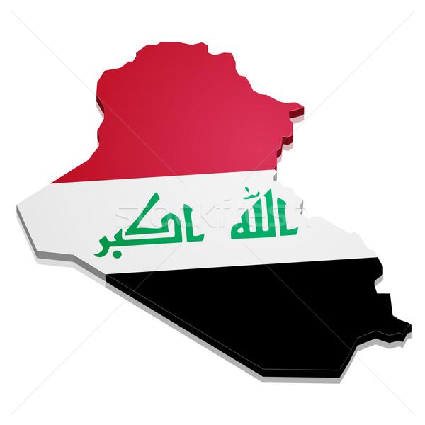 Kaart Irak gedetailleerd illustratie vlag eps10 Stockfoto © unkreatives