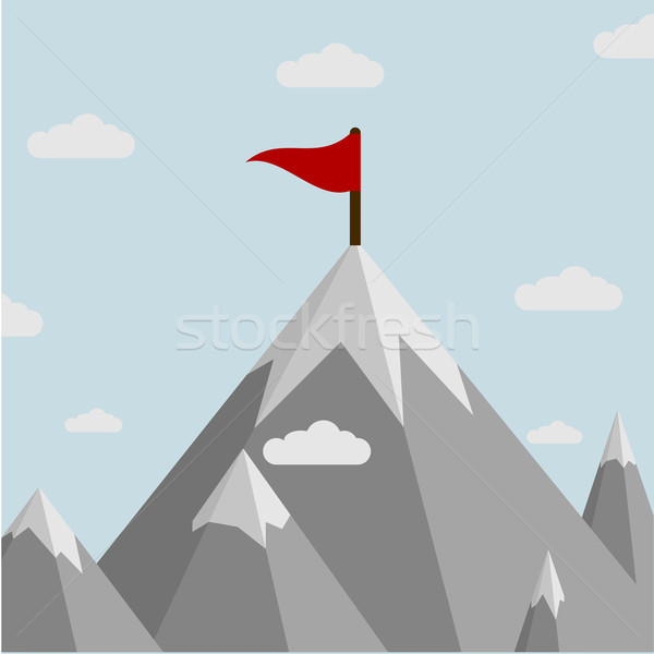 Mountain with flag Stock photo © unkreatives