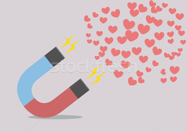 magnet attracting hearts Stock photo © unkreatives