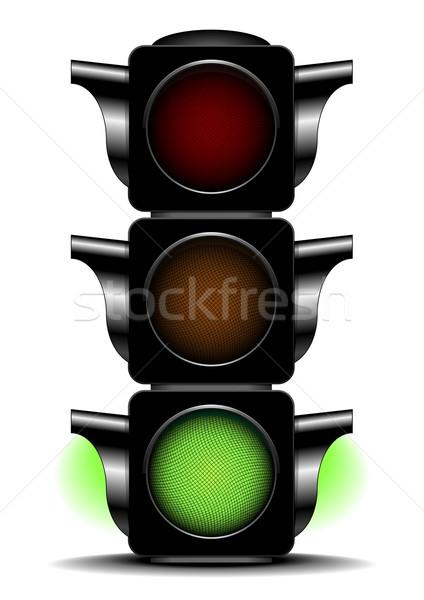 Stoplicht groene illustratie licht weg stad Stockfoto © unkreatives