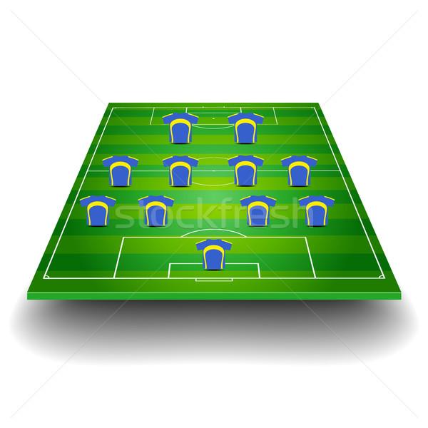 Voetbalveld team formatie gedetailleerd illustratie voetbal Stockfoto © unkreatives
