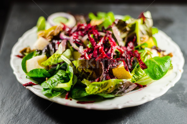 Közelkép tápláló saláta tányér asztal levél Stock fotó © unkreatives
