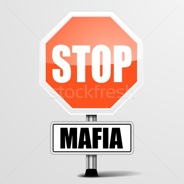 остановки мафия подробный иллюстрация красный знак Сток-фото © unkreatives