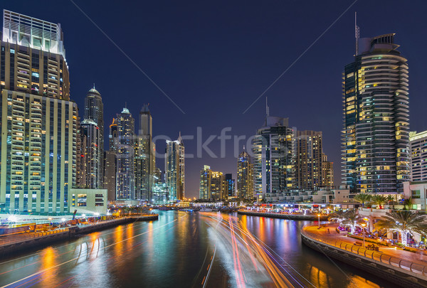 Dubaï marina nuit lumière bateaux eau Photo stock © unkreatives