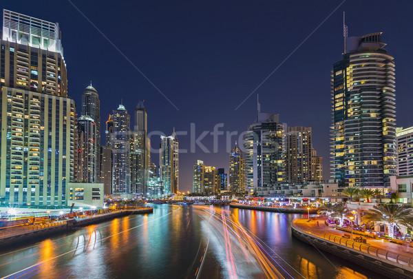 Дубай марина ночь свет лодках воды Сток-фото © unkreatives