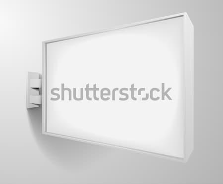 Rechteckige weiß Beschilderung detaillierte Illustration leer Stock foto © unkreatives