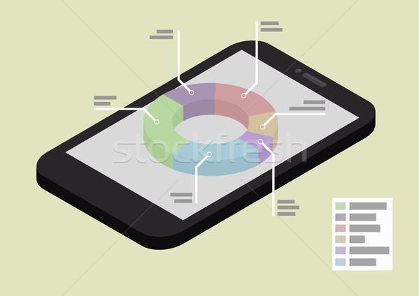 Téléphone statistiques illustration smartphone isométrique vue Photo stock © unkreatives