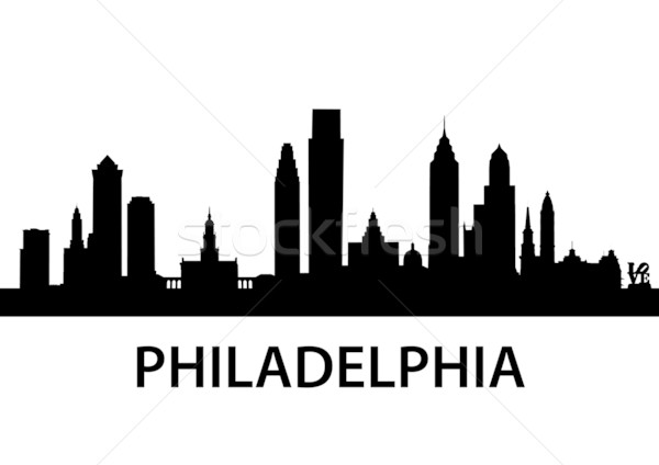 Skyline Philadelphia gedetailleerd illustratie Pennsylvania kantoor Stockfoto © unkreatives