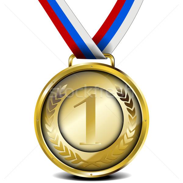 Altın madalya şerit örnek defne çelenk Stok fotoğraf © unkreatives