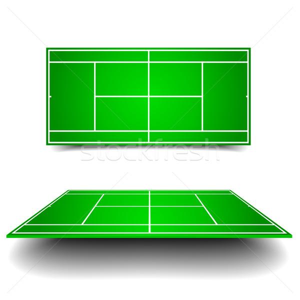 Tenis kortu perspektif ayrıntılı örnek tenis farklı Stok fotoğraf © unkreatives