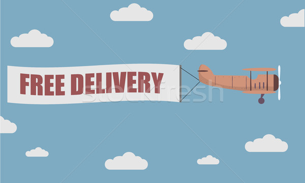 Plane Banner Free Delivery Stock photo © unkreatives