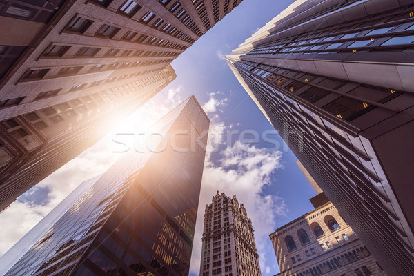 служба towers солнце выстрел Manhattan Сток-фото © unkreatives