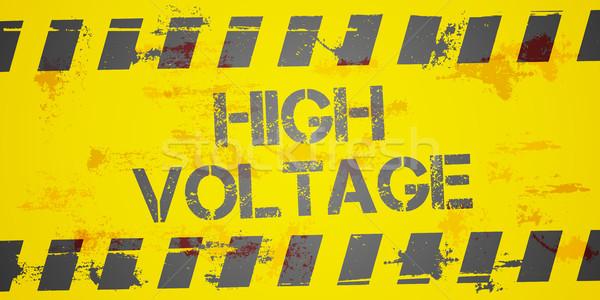Alta tensão aviso detalhado ilustração sujo construção Foto stock © unkreatives