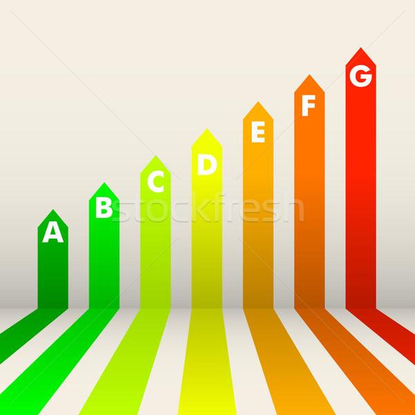 Energiahatékonyság részletes illusztráció energia osztály elektromosság Stock fotó © unkreatives