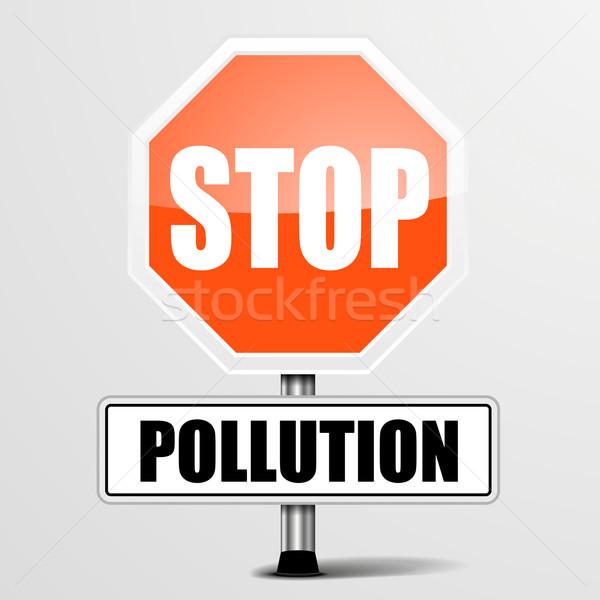Arrêter pollution détaillée illustration rouge Photo stock © unkreatives