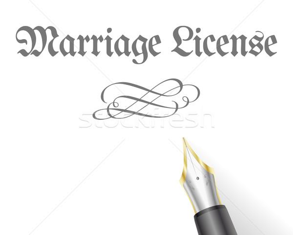 Huwelijk licentie illustratie brief vulpen familie Stockfoto © unkreatives