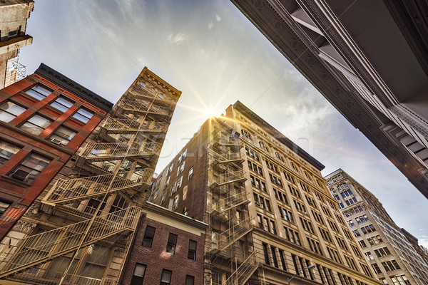 apartment buildings and fire escapes Stock photo © unkreatives