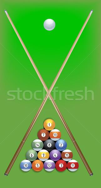 Piscina ilustração verde tabela bola Foto stock © unkreatives