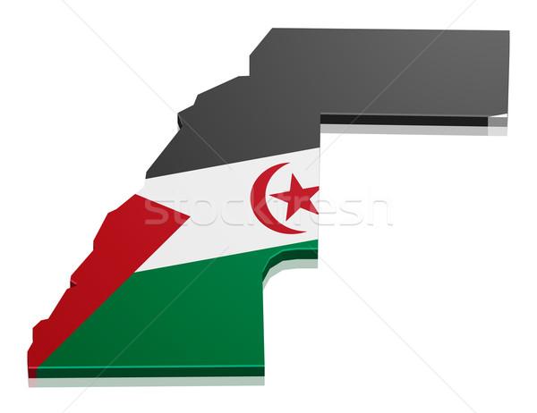 Stock fotó: Térkép · western · Szahara · részletes · illusztráció · zászló