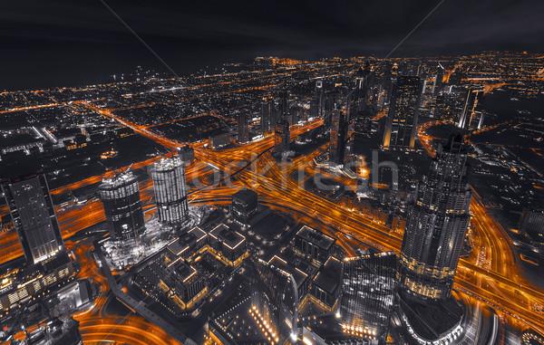 Dubai légifelvétel éjszaka épület város tájkép Stock fotó © unkreatives