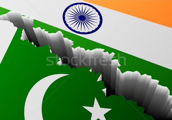 Zászló Pakisztán India mély törés részletes Stock fotó © unkreatives