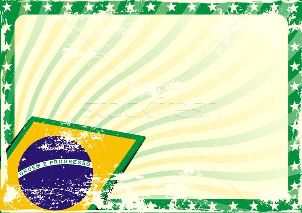 grungy brazilian flag background Stock photo © unkreatives