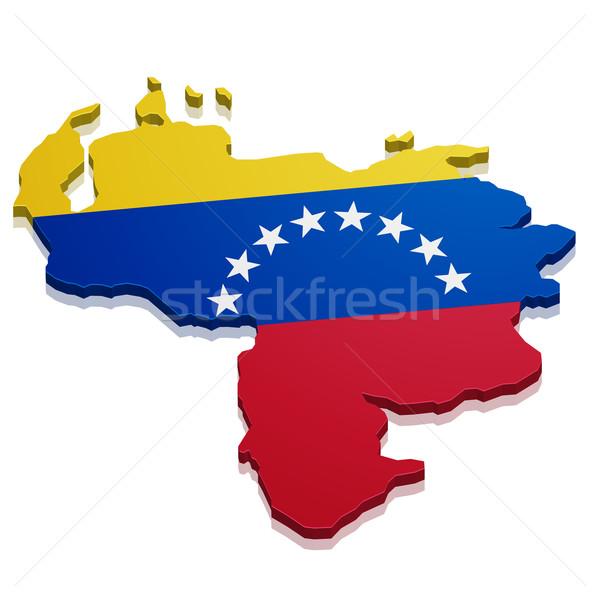 Kaart Venezuela gedetailleerd illustratie vlag eps10 Stockfoto © unkreatives