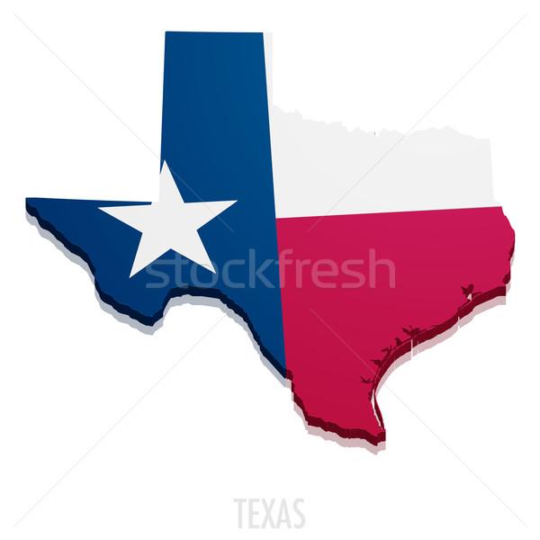 Mapa Texas detallado ilustración bandera eps10 Foto stock © unkreatives