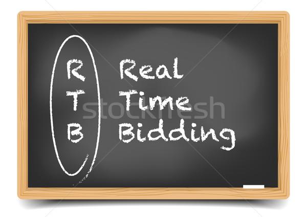 本当の 時間 詳しい 実例 黒板 説明 ストックフォト © unkreatives