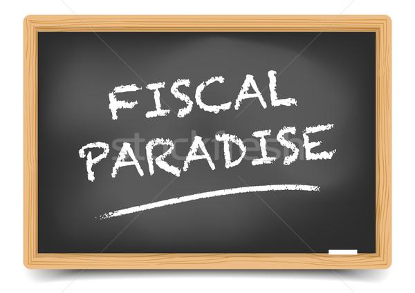 Blackboard fiscale paradijs gedetailleerd illustratie tekst Stockfoto © unkreatives