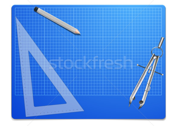 Photo stock: Plan · souverain · boussole · illustration · travail · architectural