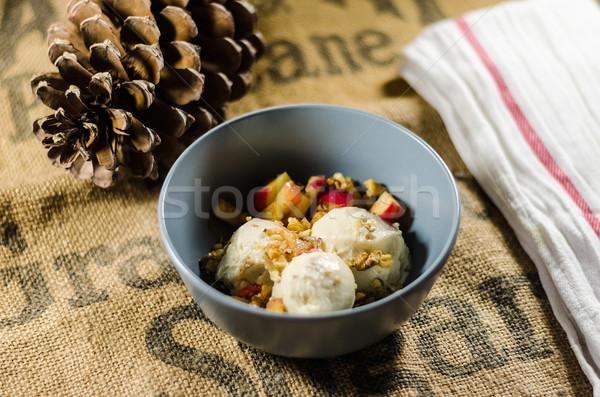 Yogurt And Cut Fruits In Bowl Stock photo © unkreatives