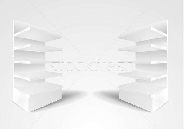 Witte tentoonstelling gedetailleerd illustratie twee rack Stockfoto © unkreatives