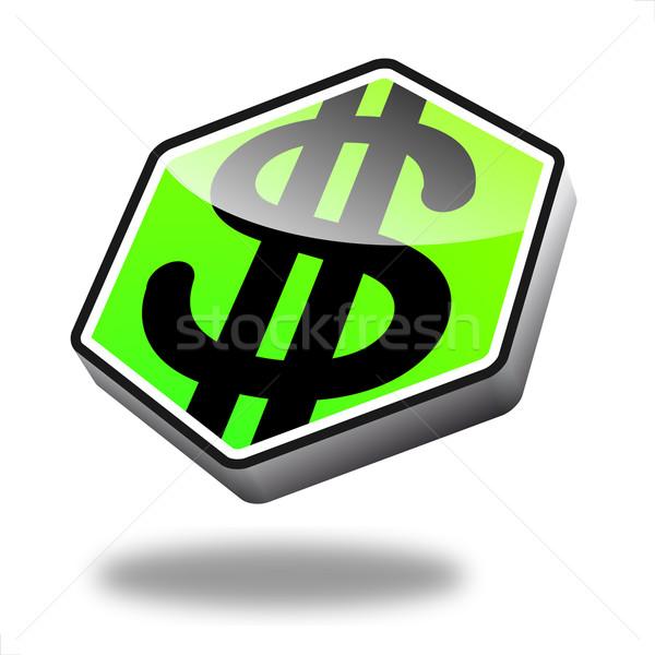 Stok fotoğraf: Düğme · dolar · yeşil · perspektif · simge · finanse