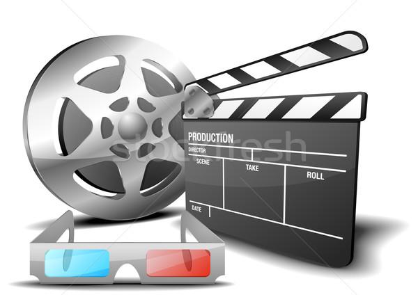 Stock fotó: Film · 3d · illusztráció · tábla · filmszalag · 3d · szemüveg · szimbólum