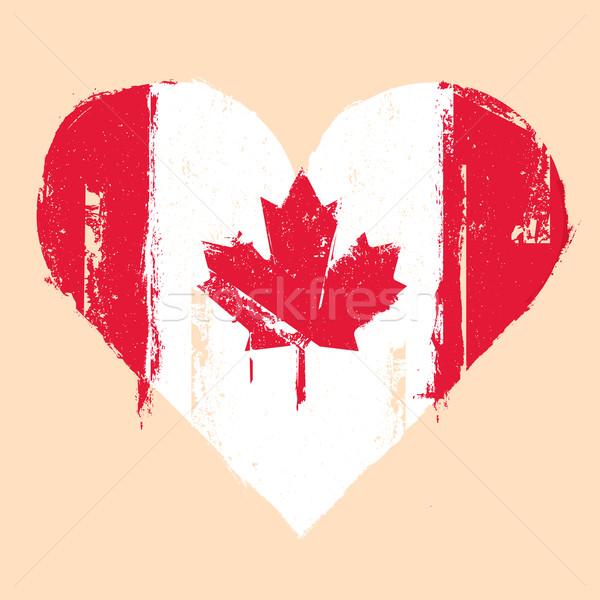 Canada grunge coeur détaillée illustration Photo stock © unkreatives