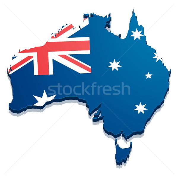 Mapa Austrália detalhado ilustração bandeira eps10 Foto stock © unkreatives
