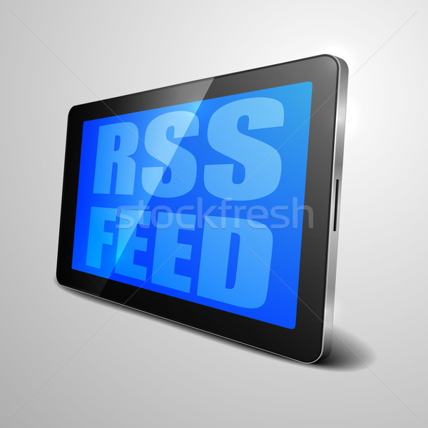 Tablet rss feed gedetailleerd illustratie Stockfoto © unkreatives