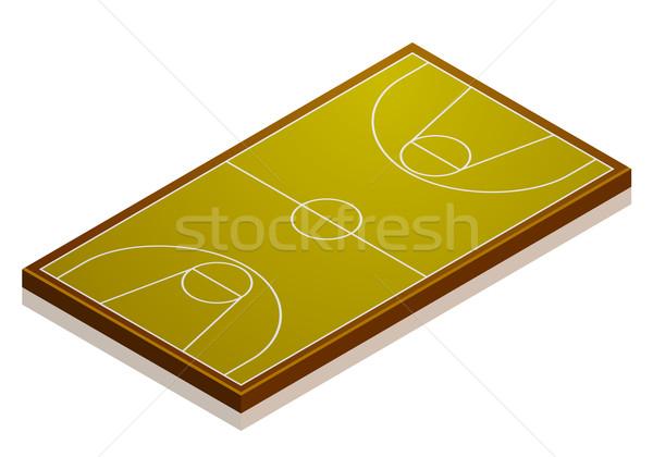 Сток-фото: баскетбольная · площадка · подробный · иллюстрация · изометрический · перспективы · eps10