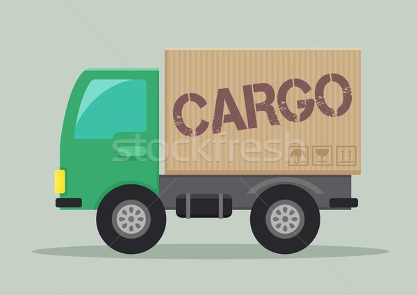 Camión de reparto carga ilustración etiqueta eps10 Foto stock © unkreatives