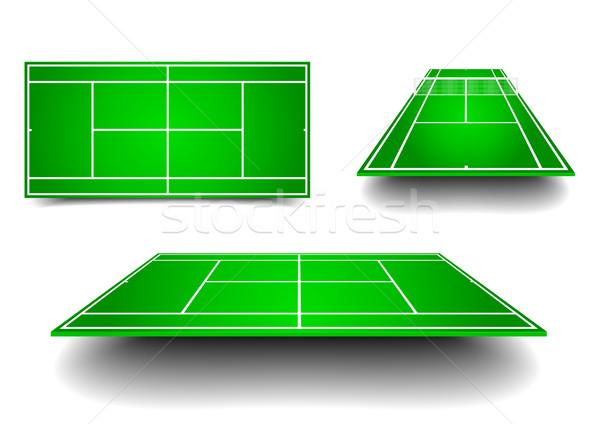 Tennisplatz Perspektive detaillierte Illustration Tennis unterschiedlich Stock foto © unkreatives