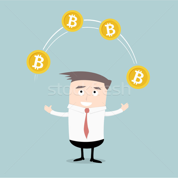 Businessman juggling Bitcoins Stock photo © unkreatives