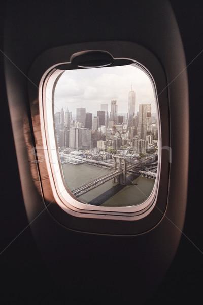 飛行機 ウィンドウ ニューヨーク市 ビジネス 橋 ストックフォト © unkreatives