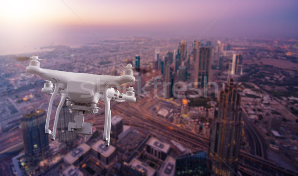 multicopter drone flying over Dubai Stock photo © unkreatives